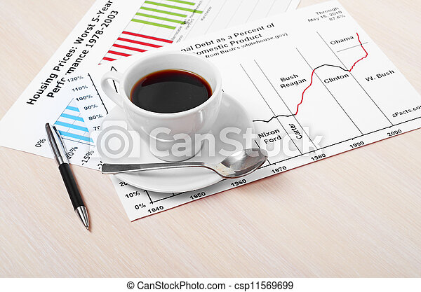 Accounting. Cup of coffee on document. chart and diagram - csp11569699