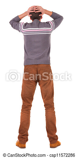 Back view of shocked business man in sweater .   upset young guy in jeans. Rear view people collection.  backside view of person.  Isolated over white background. - csp11572286