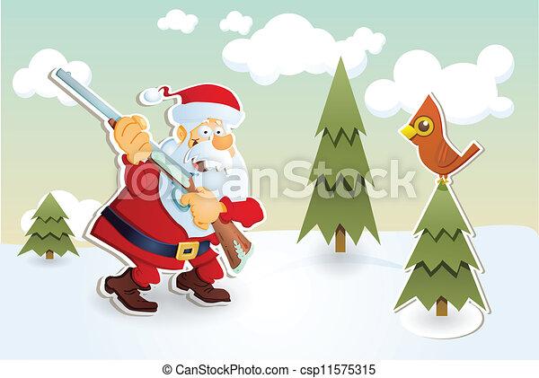 Vector Clip Art of Santa hunter - Santa hunting Christmas card ...