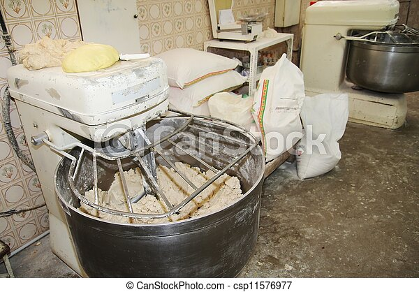 Paddle mixer in a industrial bakery - csp11576977