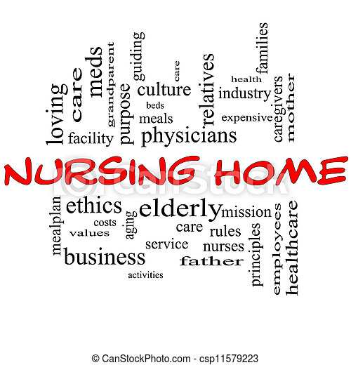 Nursing Home Word Cloud Concept in red and black - csp11579223