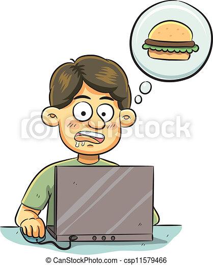 Vector - hambriento, hombre - stock de ilustracion, ilustracion libre ...