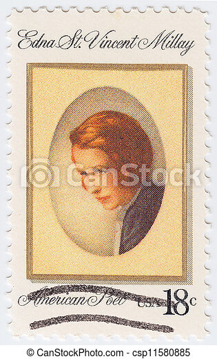 USA - CIRCA 1997 : stamp printed in USA shows Edna St Vincent Millay american poet, circa 1997