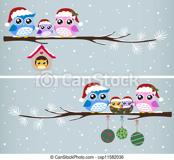Vectors of owl family christmas celebration csp11582036 - Search Clip ...