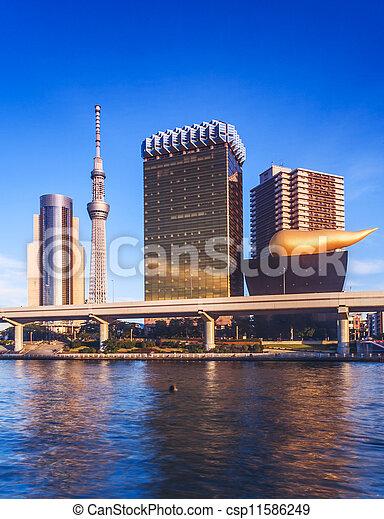 tokyo riverside landmark building - csp11586249