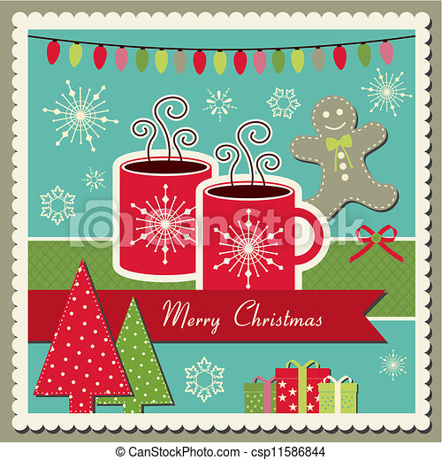 EPS Vector of Hot chocolate Christmas card - Vector scrapbook ...