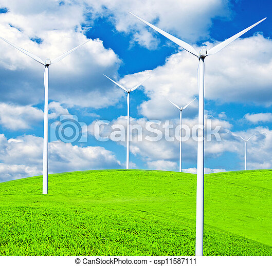 Turbines on landscape - Clean energy concept - csp11587111