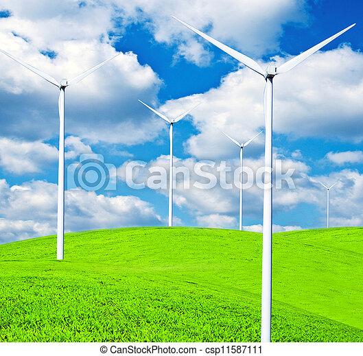 Turbines on landscape - Clean energy concept - csp11587111
