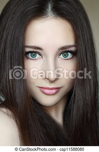 green  natural green for model makeup natural eyes and woman with Photo  Stock  Beautiful  eyes makeup
