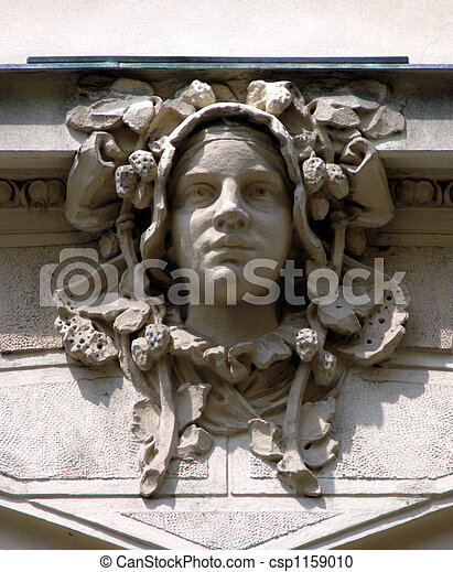 Art Nouveau sculpture on the wall in Prague, Czech Republic - csp1159010
