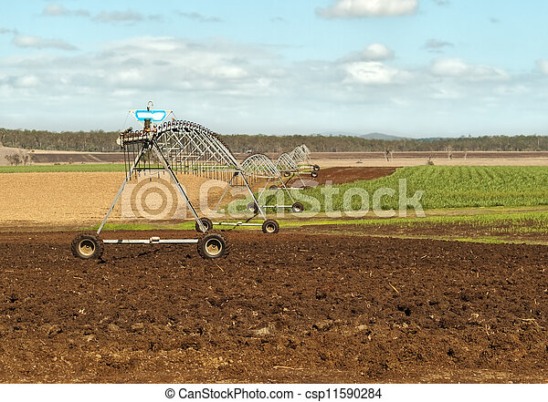 Australian agriculture rural irrigation on sugar cane farm - csp11590284
