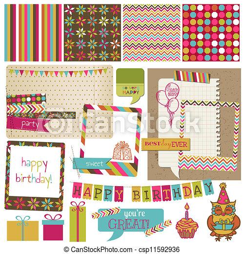 vector,  -, cumpleaños, diseño,  Retro, álbum de recortes, invitación, elementos, celebración - csp11592936
