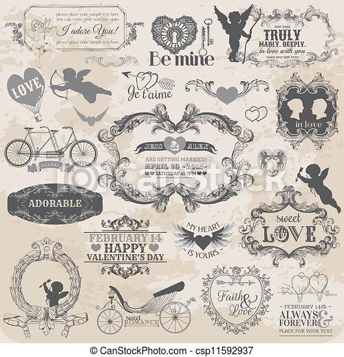 elementi, Amore, valentine, vendemmia,  -, vettore, disegno, album,  set, disegno - csp11592937