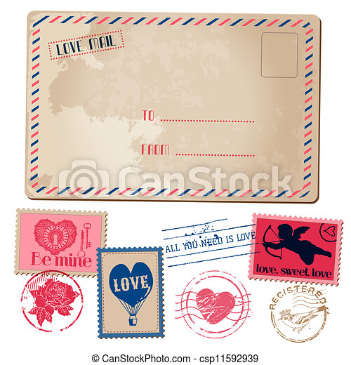 Vintage Love Valentine Postcard and Stamps - for design, invitation, scrapbook - in vector - csp11592939