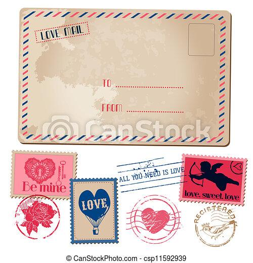 Vintage Love Valentine Postcard and Stamps - for design, invitation, scrapbook - in vector - csp11592939
