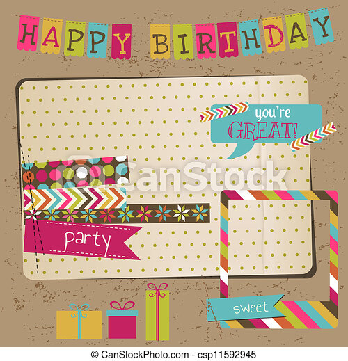 Retro Birthday Celebration Design Elements - for Scrapbook, Invitation in vector - csp11592945