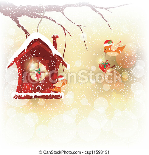 Christmas Card Robin Bird Send Greeting - csp11593131