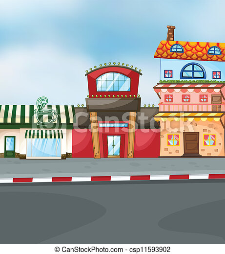Restaurant building clipart  Vector Clipart of buildings - illustration of a three different ...