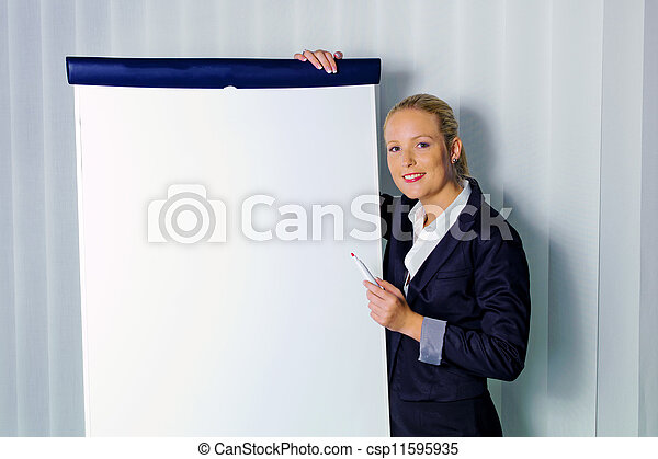 woman with flip chart - csp11595935