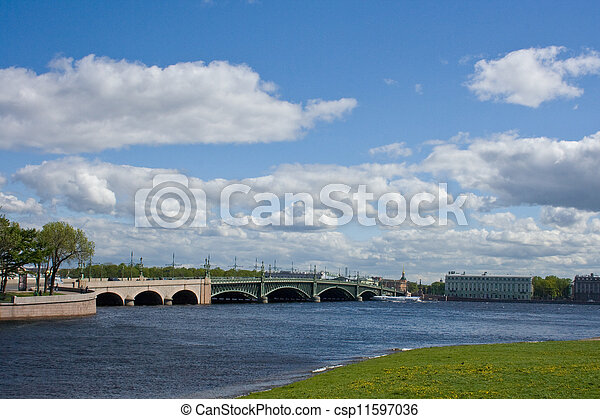 movable bridges on the River Neva. St. Petersburg. Russia. - csp11597036