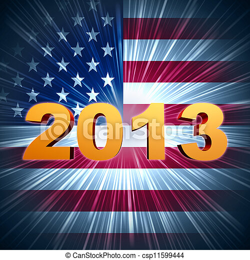 golden year 2013 over shining american flag - csp11599444