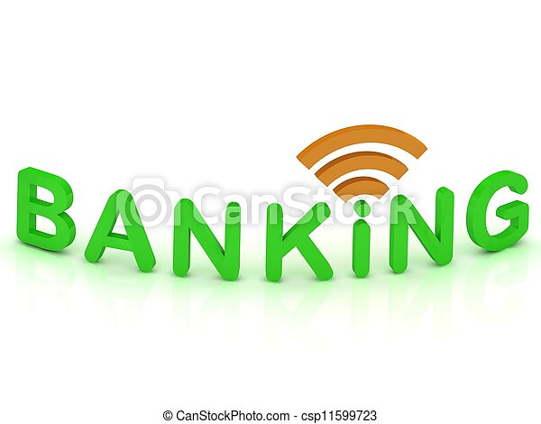 BANKING sign with the antenna with green letters - csp11599723