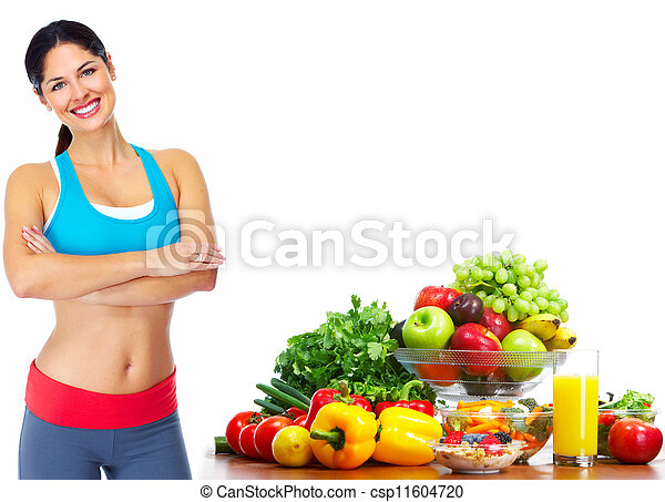 Young healthy woman with fruits. - csp11604720