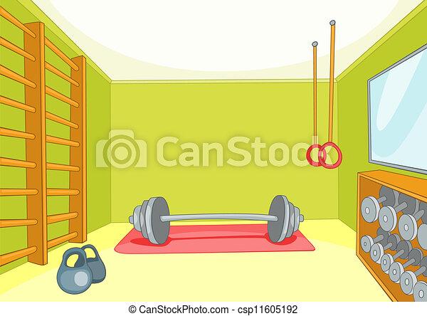 体育馆, 房间, 训练者, 矢量, 卡通漫画, 背景, eps