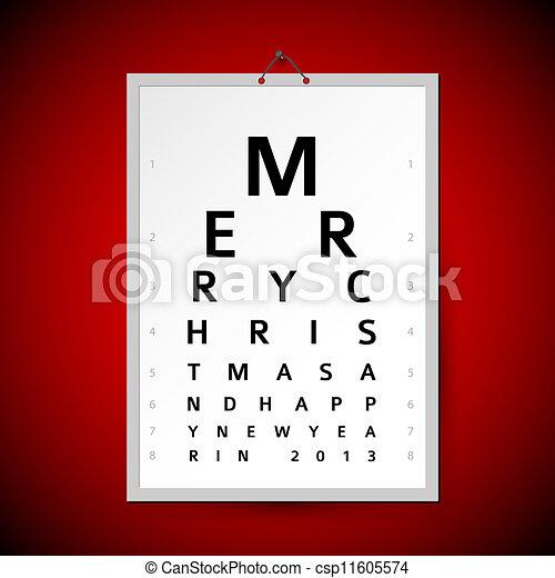 Vector Christmas eye test chart as xmas card - csp11605574