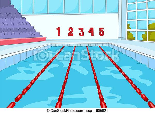 Vector Illustration Of Swimming Pool Cartoon Background
