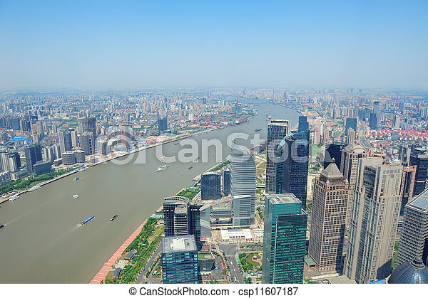 Shanghai aerial in the day - csp11607187