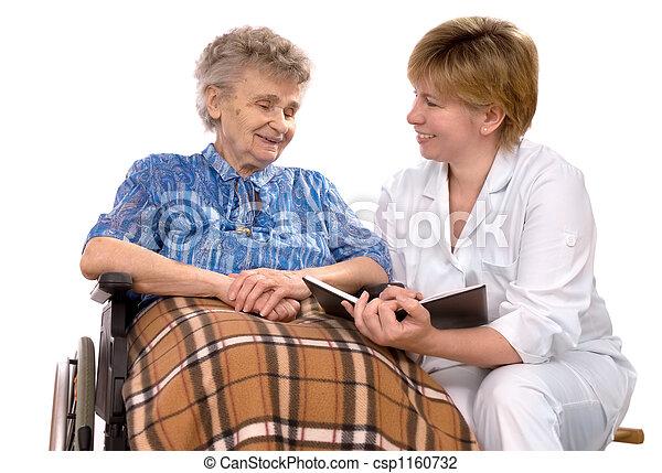 elderly woman in wheelchair - csp1160732
