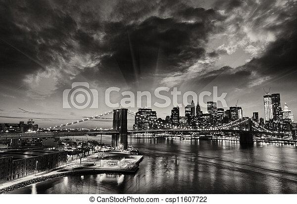 New York City - Manhattan skyline at winter sunset - csp11607722