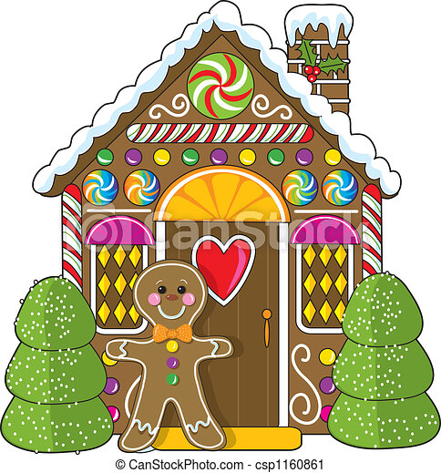 Clipart Of Gingerbread House And Man A Cute Little
