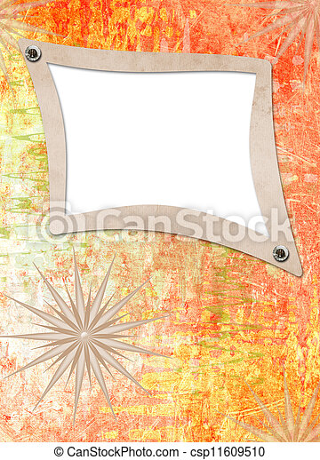 Grunge alienated paper design in scrapbooking style on the abstract background - csp11609510