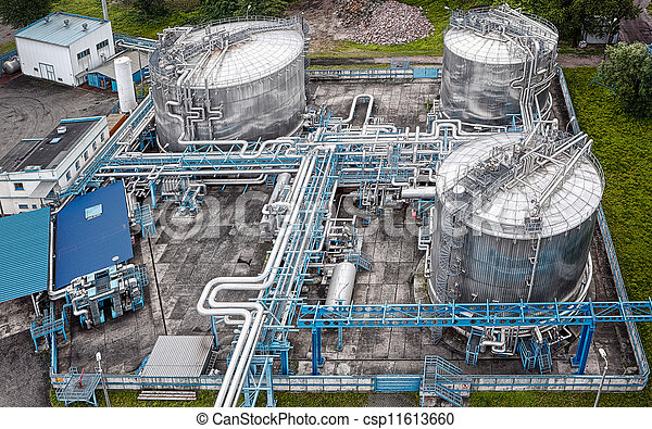 Gas and oil industrial from aerial view - csp11613660