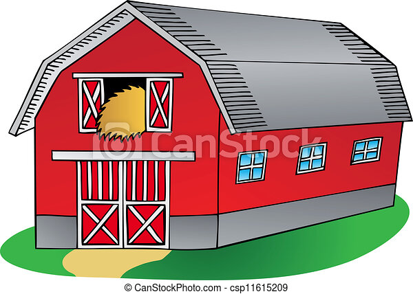 Barn Line Drawing Barn on White Background