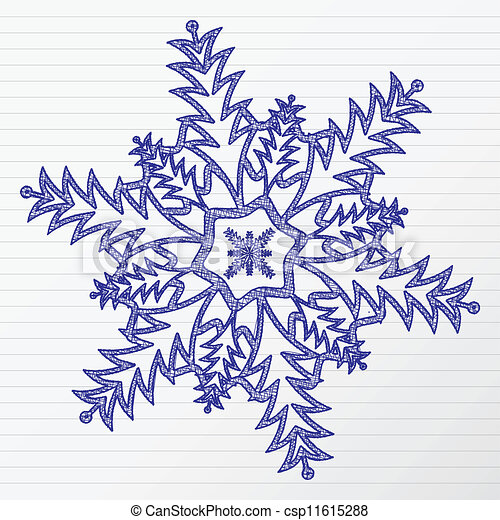 Vecteur de dessin flocon de neige scratch hiver - Dessins flocons de neige ...