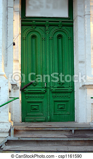 antiquarian green door - csp1161590