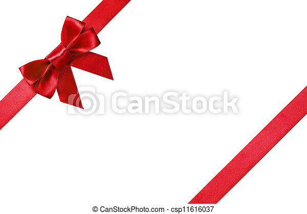 Red ribbons with bow with tails - csp11616037