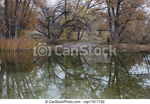 autumn lake reflections - csp11617162