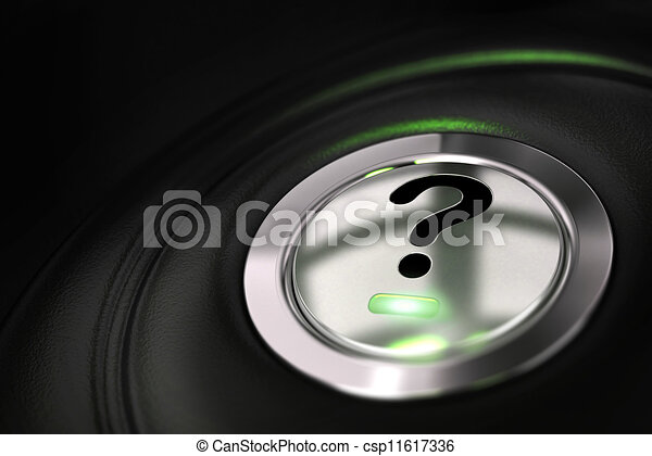 automobile button with question mark symbol over black background - csp11617336