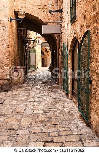 A narrow street in historic Jaffa , Israel - csp11619362