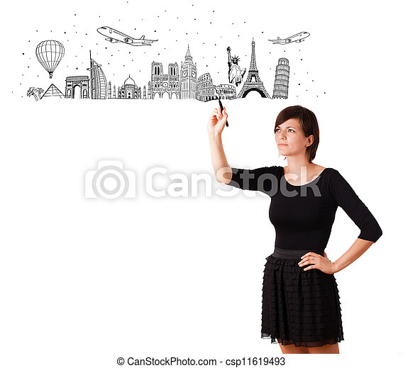 Young woman drawing famous cities and landmarks on whiteboard - csp11619493