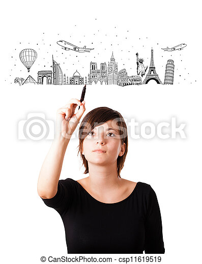 Young woman drawing famous cities and landmarks on whiteboard - csp11619519