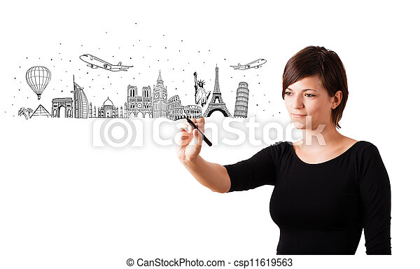Young woman drawing famous cities and landmarks on whiteboard  - csp11619563