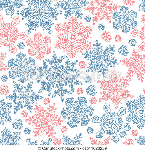 Seamless snowflakes pattern for winter themed designs. Vector illustration, EPS8 - csp11620259