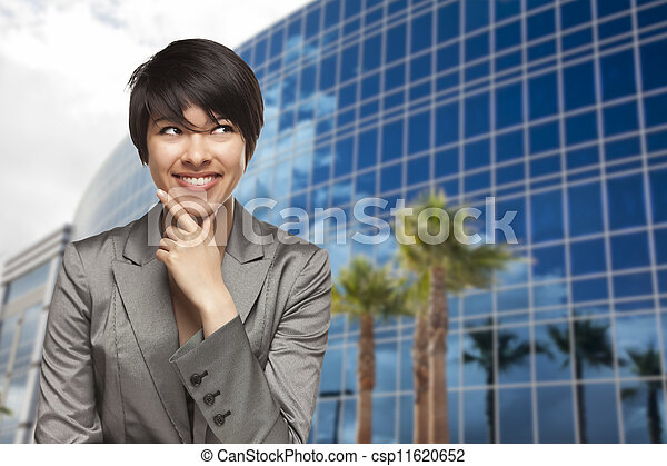 Mixed Race Young Adult in Front of Building - csp11620652