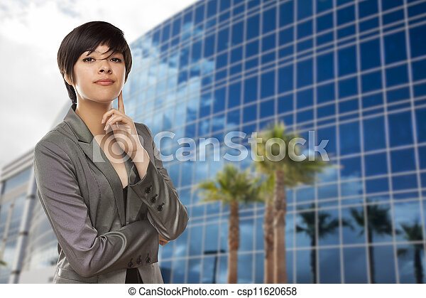 Mixed Race Young Adult in Front of Building - csp11620658