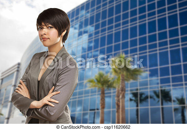 Mixed Race Young Adult in Front of Building - csp11620662